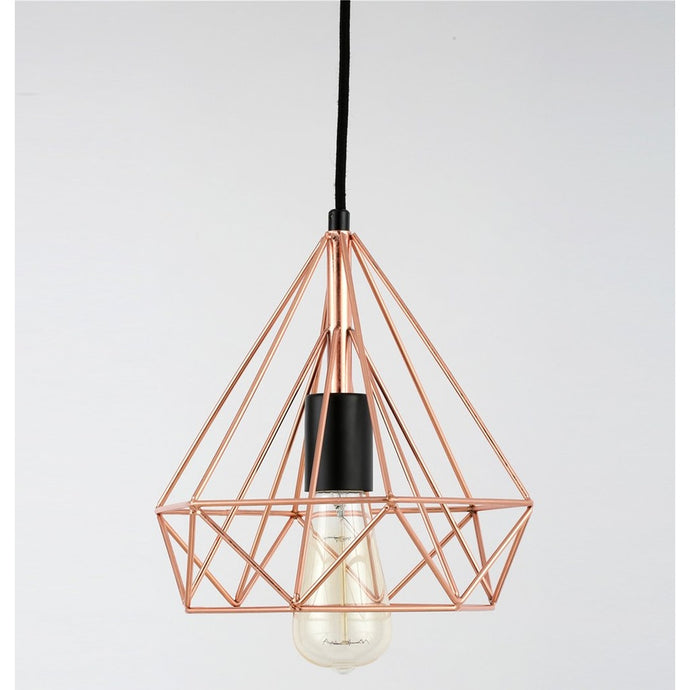 Copper Wire Pyramid Pendant Lamp