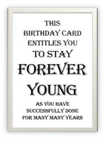 Wholesale Greeting Cards - Designer greeting card for birthday - Forever Young The inside of the card is blank