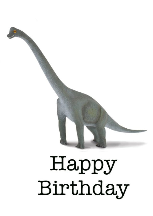 Dinosaur on a Birthday Card. Blank inside.  Text on front Happy Birthday