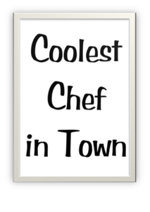 Designer greeting card to give to a chef.  Black text on white/ ivory card.