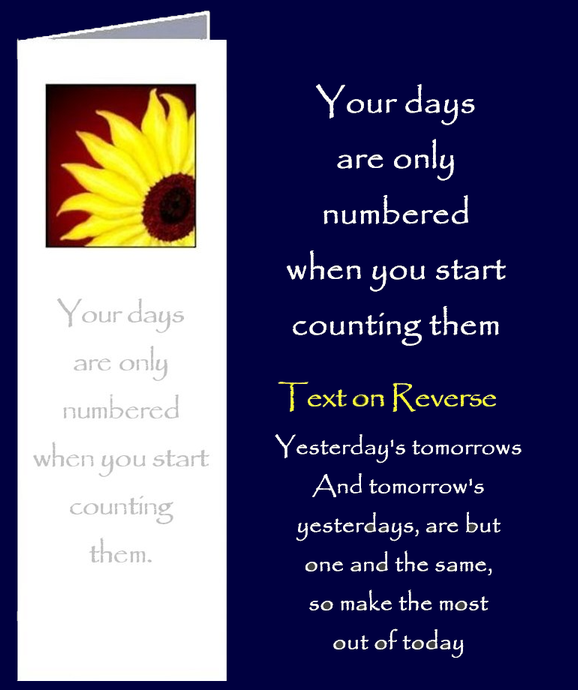When your days are numbered. Bookmark Gift Card with original inspirational quotes by Peter Karsten from his book