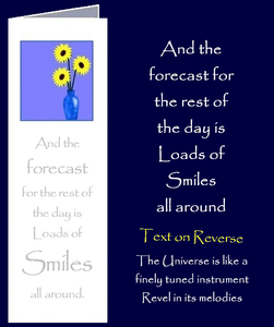 "Forecast of Smiles. Bookmark Gift Card with original inspirational quotes by Peter Karsten from his book ""Be Great.  Be You."""