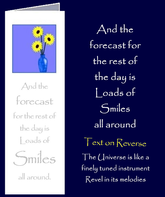 Forecast of Smiles. Bookmark Gift Card with original inspirational quotes by Peter Karsten from his book