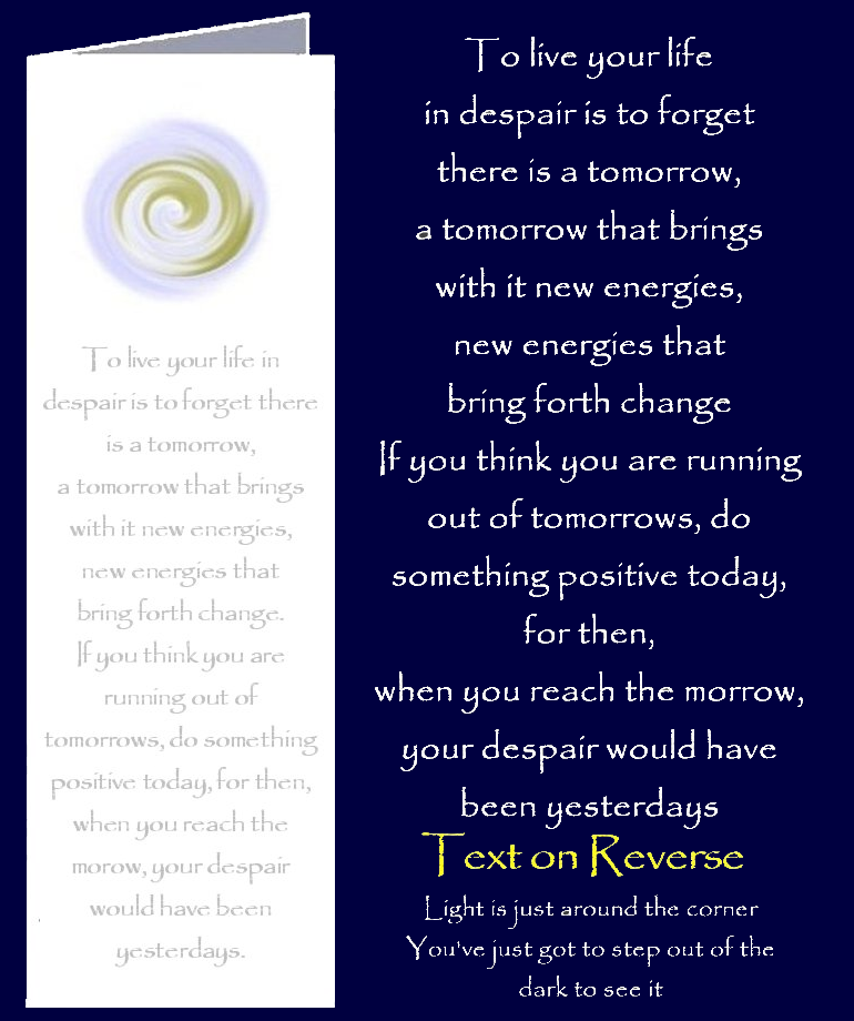 Don't Despair. Bookmark Gift Card with original inspirational quotes by Peter Karsten from his book