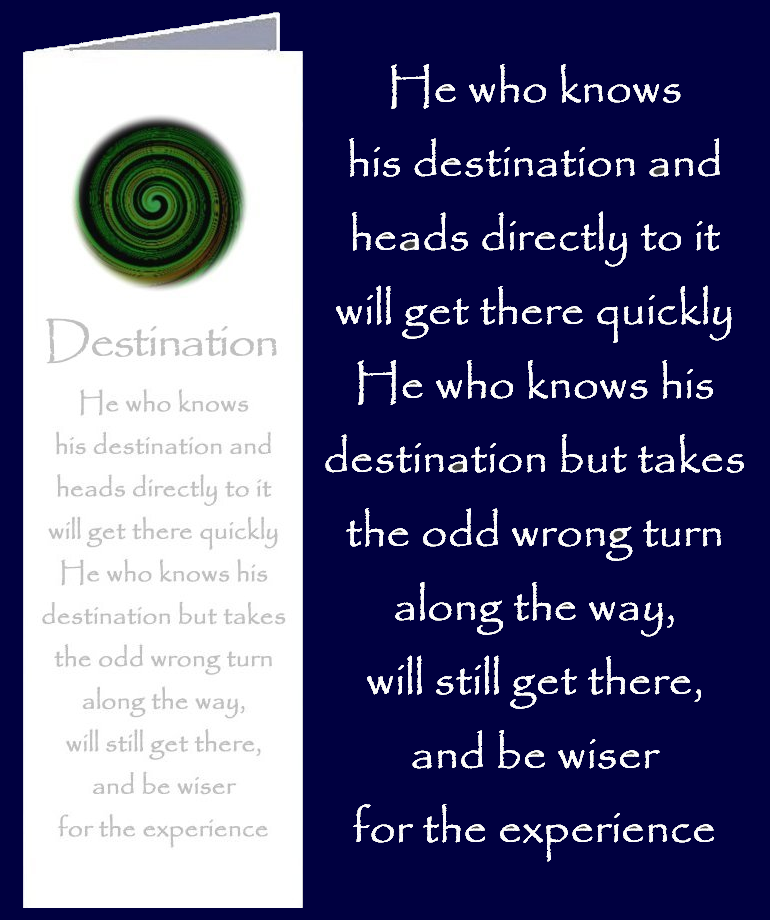 Original inspirational quote by Peter Karsten, regarding direction in life, printed onto a bookmark style greeting card.