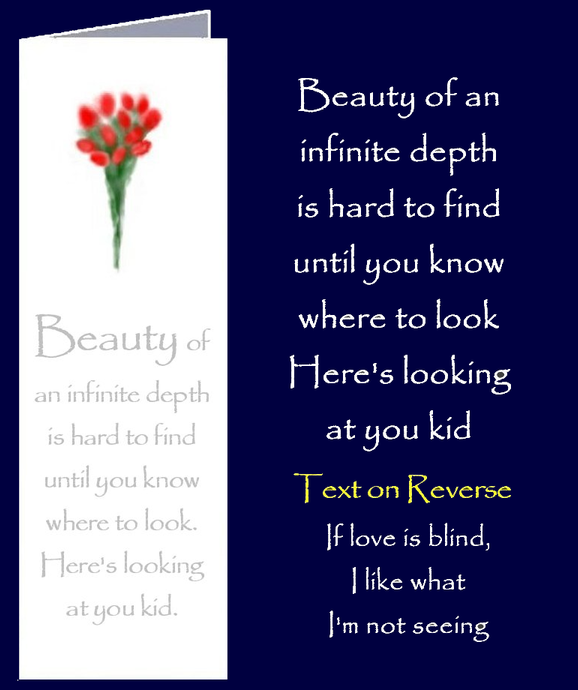 Original inspirational quote by Peter Karsten, regarding inward beauty, printed onto a bookmark style greeting card.
