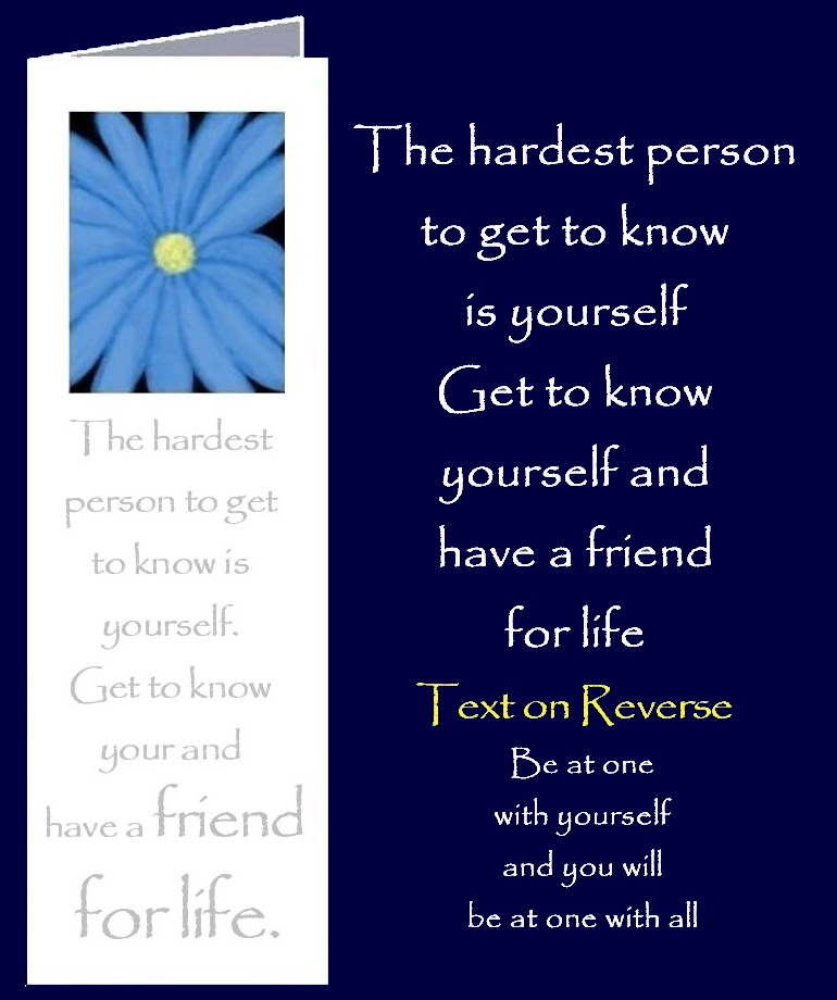Original inspirational quote by Peter Karsten, about getting to know yourself, printed onto a bookmark style greeting card.