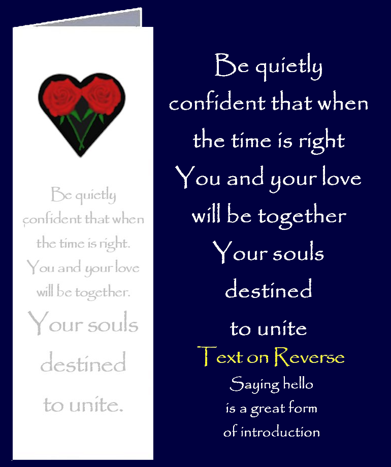 Original inspirational quote by Peter Karsten, about soul mates destined to unite, printed onto a bookmark style greeting card.