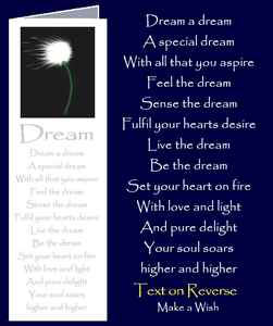 "Bookmark card. Inspirational verse by Peter Karsten from his Little Book of Wisdom ""Be Great Be You.""  Dandelion Make a Wish image."