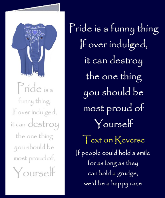 Boomark greeting card with words of wisdom about Pride by Peter Karsten from his book