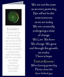 "Evolution by Peter Karsten from his book ""Be Great Be You"" inspired by learning life's lessons the hard way.  Bookmark sized greeting card with inspirational quote on front and back of card. The inside of this gift card has been left blank for your own personal message."