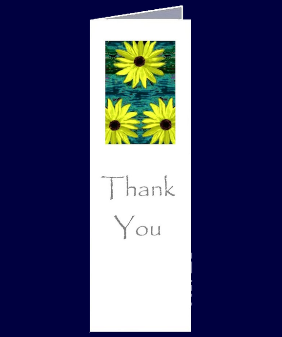 Sunflower Image on a Thank You bookmark sized greeting card.  The inside of this gift card has been left blank for your own personal message.