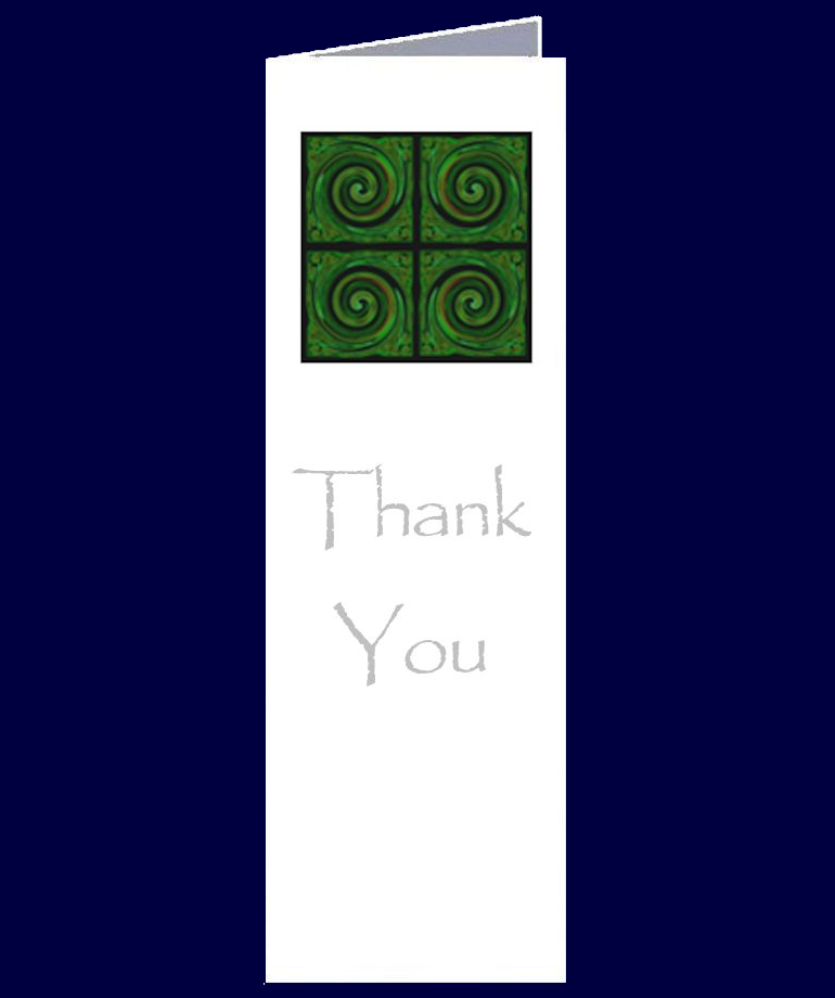 Contemporary Koru Image on a Thank You bookmark sized greeting card.  The inside of this gift card has been left blank for your own personal message.