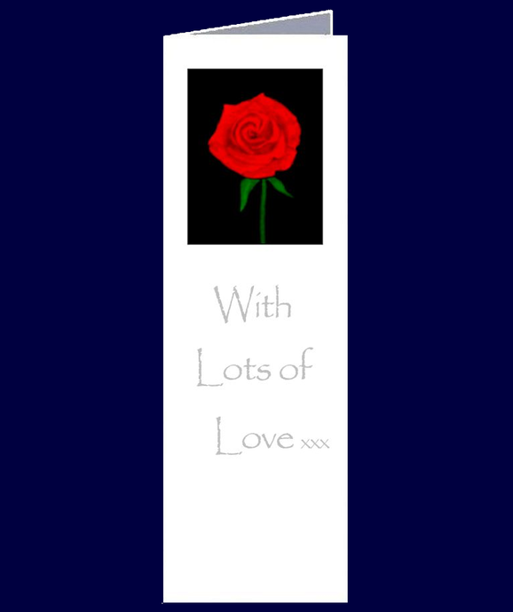A lovely stylistic rose bookmark sized gift card.