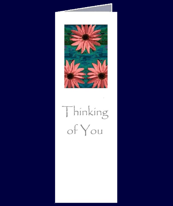 A nice subtle and sincere floral image features on this bookmark sized Thinking of You gift card.  The inside of this card has been left blank for your own personal message.