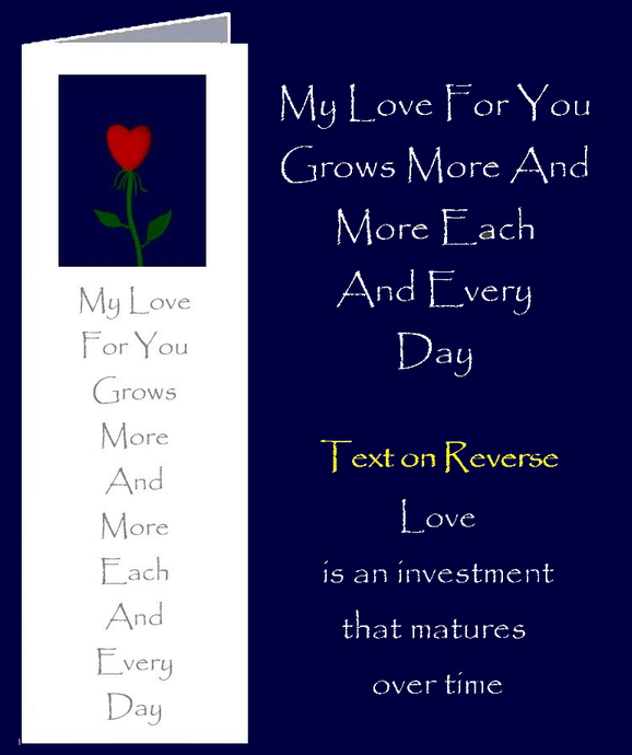 A love that grows with a love heart on a flower stem.  A love inspired quote by Peter Karsten from his book