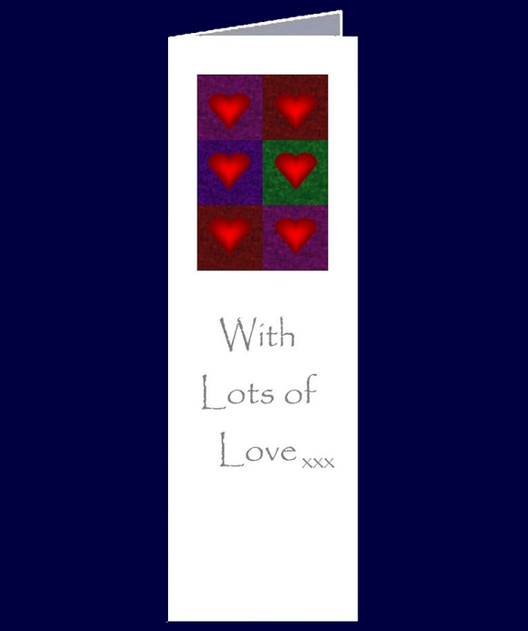 Multiple Love Hearts and kisses feature on this bookmark sized gift card.  With Lots of Love xxx  The inside of the card has been left blank for your own personal message.