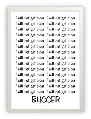 Wholesale Greeting Cards - New Zealand Slang Cheeky Designer Birthday Card  - Writing lines will not get older - Bugger