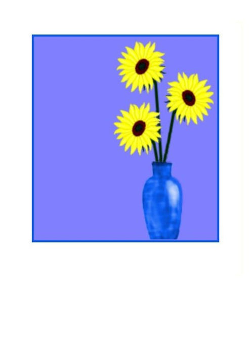 Wholesale Greeting Cards. A lovely greeting card with sunflowers in a vase by Peter Karsten