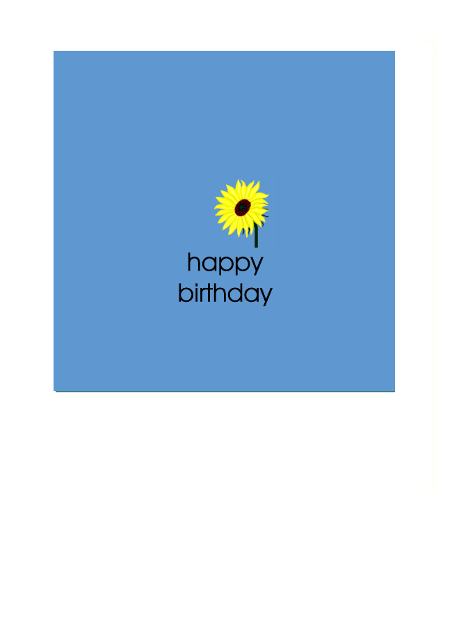 Greeting Card with Happy Birthday and a tiny sunflower above the text.  Really sweet.  Blank on the inside.  The finest quality archival white linen card.