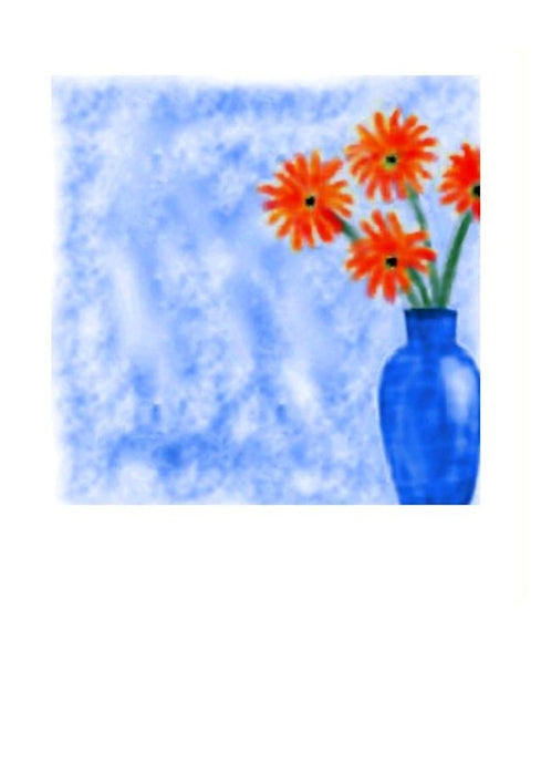 CC111 - Red flowers Blue Vase