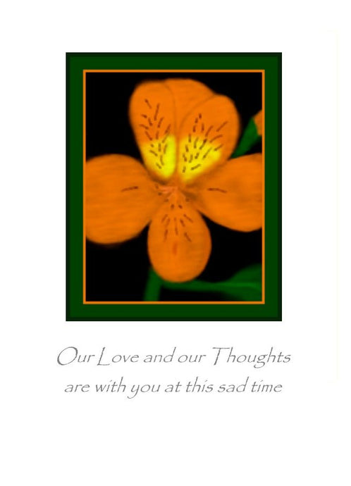 Sympathy card with Love and Thoughts