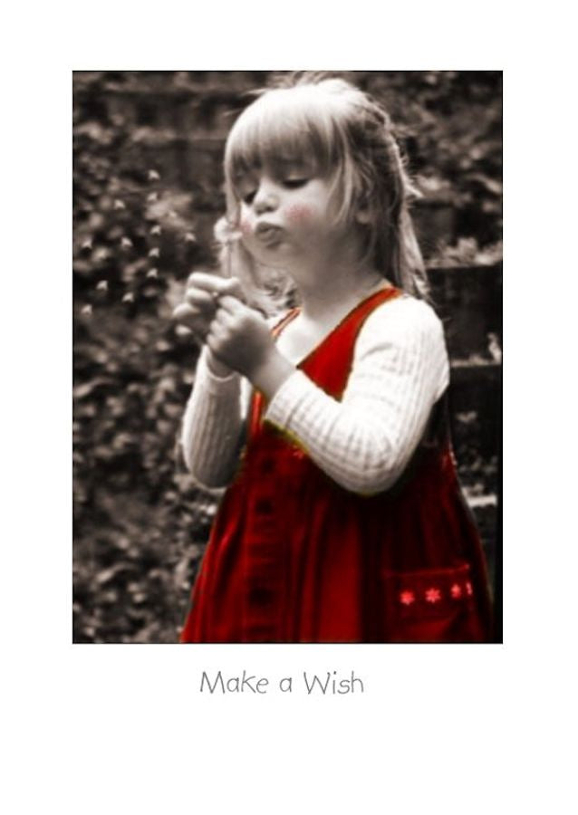 Birthday Card with a little Girl blowing a dandelion to Make a Wish.e