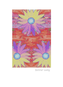 Summer Loving greeting card or note card.  Poster style floral design.
