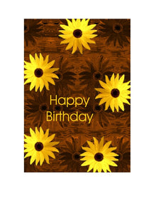 Birthday card with sunflowers on a copper background.  Blank inside.