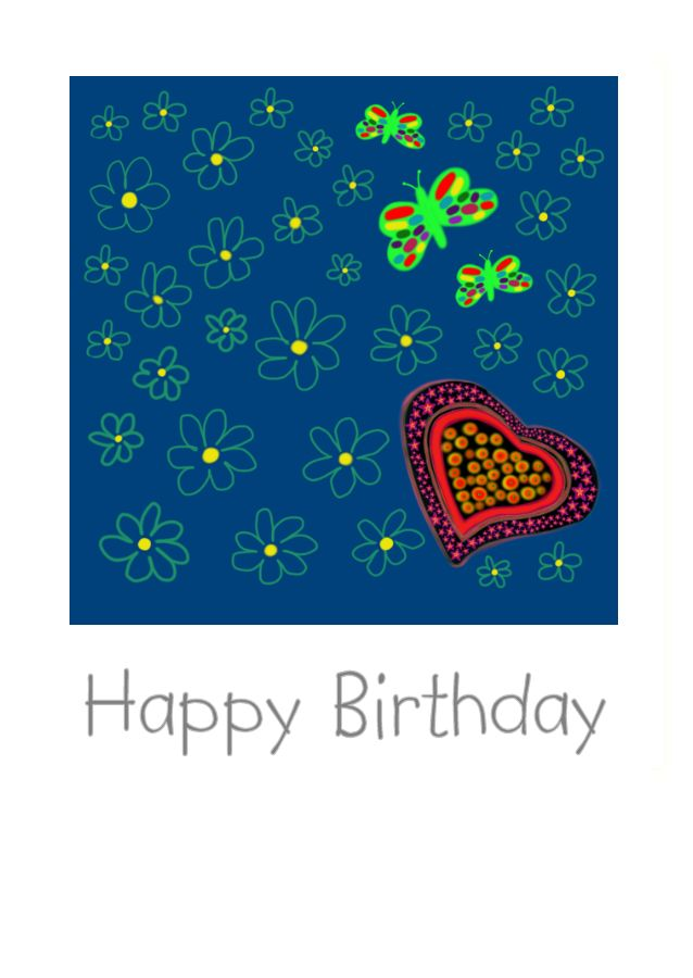 A love heart, some brightly coloured butterflies and flowers on Birthday Card