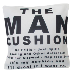 The Man Cushion.  Every Man Cave needs one.  Cushions and covers, throws and pillows.  Wholesale suppliers.