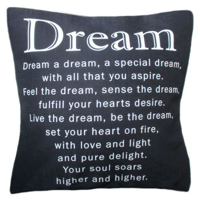The Dream Cushion - lovely inspirational verse on a cushion by Peter Karsten