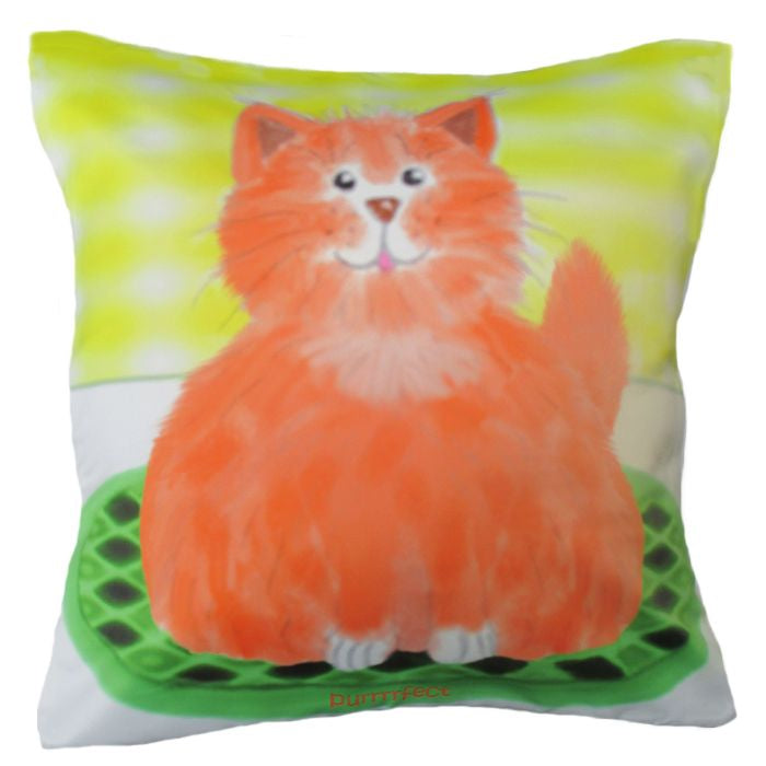 Cute cat cushion cover by Pauline Schmidt.  45cm x 45cm.  Chelsea Design NZ