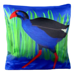 Pukeko on a cushion.  Kiwiana to the max. This Novelty Cushion Cover by NZ Artist Peter Karsten is Vibrant and fun.