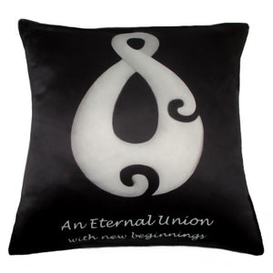 Cushion cover symbolising an Eternal Union with New Beginnings. This would be a real45cm x 45cm cushion cover.  Satin look and Feel. True kiwiana by NZ artist Peter Karsten