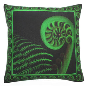 "Kiwiana Cushion Cover ""Koru"" by NZ Artist Peter Karsten.  45cm x 45cm linen look & feel."