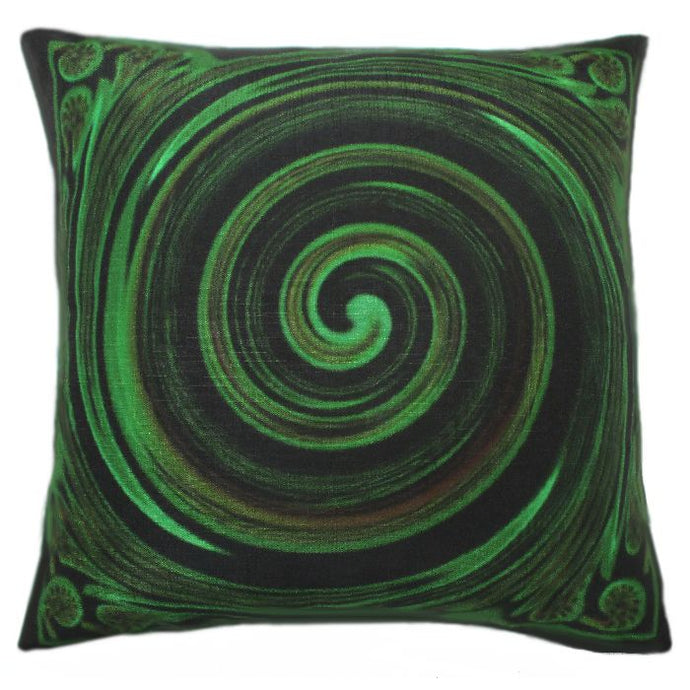 Contemporary kiwi art on a cushion cover.  Koru Symbol by NZ Artist Peter Karsten.  45cm x 45cm Linen look and feel