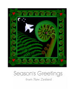 Load image into Gallery viewer, New Zealand Christmas Card with a Koru, a white dove of peace, a holly and a NZ Fern by nz artist Peter Karsten