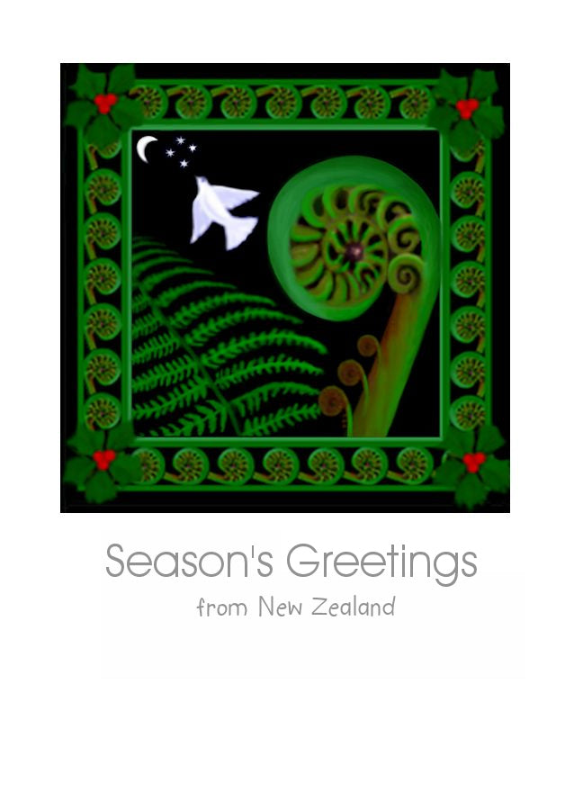 New Zealand Christmas Card with a Koru, a white dove of peace, a holly and a NZ Fern by nz artist Peter Karsten