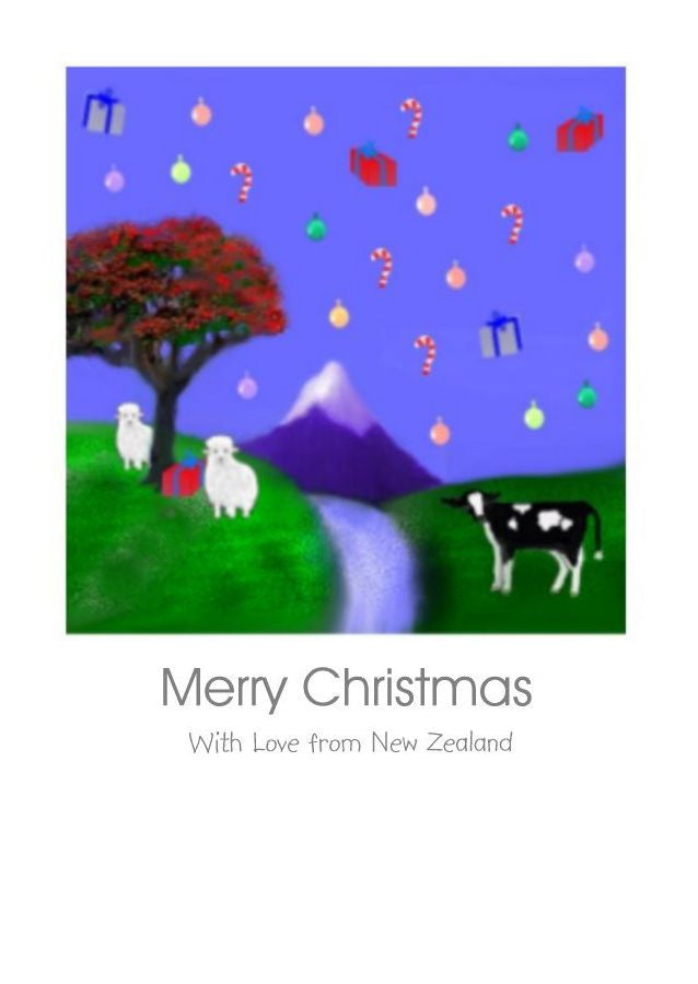 Wholesale Christmas Cards. New Zealand Christmas Scene with a friesan calf, sheep. a mountain, a waterfall and pohutukawa tree and lots of lovely presents by New Zealand Artist Peter Karsten