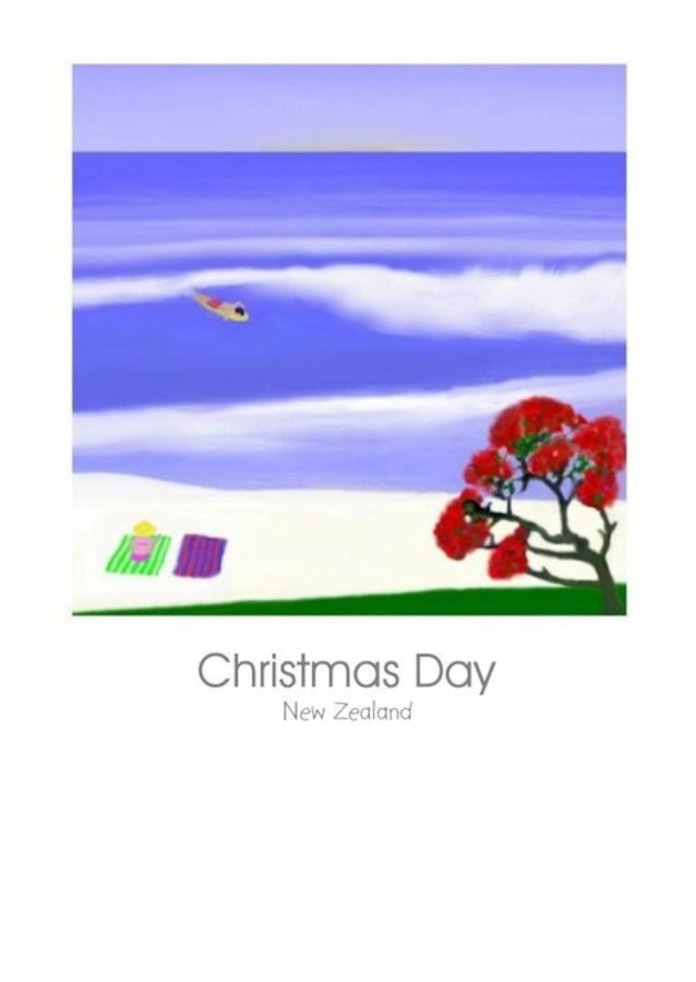New Zealand Christmas card featuring sand, surf and a pohutukawa tree and a kiwi at the beach by New Zealand Artist Peter Karsten. Wholesale Greeting Cards.