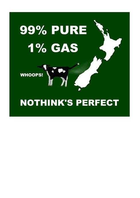 Wholesale Greeting Cards.  Map of New Zealand with friesan calf 99% Pure 1 % Gas greeting card tongue in cheek about green house gases and NZ 100% Pure by Peter Karsten