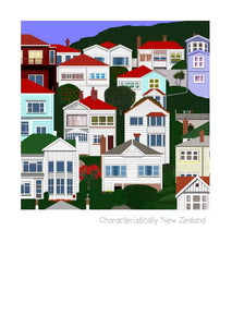 Characteristically New Zealand Art Card by Peter Karsten.  Architectural landscape of New Zealand.