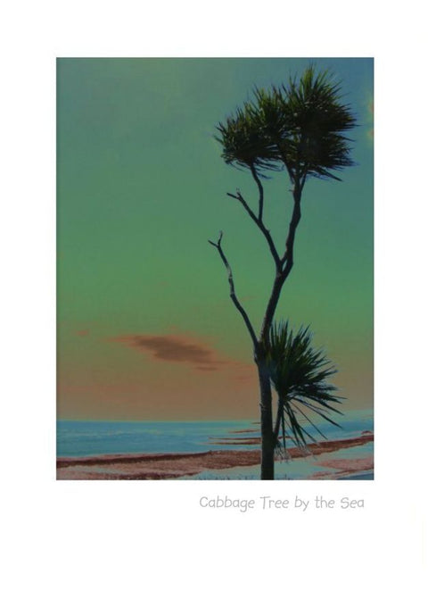 Artistic impression of a Cabbage Tree by the sea by NZ Artist Peter Karsten. Wholesale Suppliers of art Cards, notes cards and greeting cards.