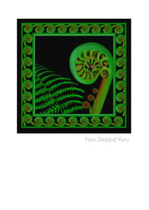 Koru Art Card, Note Card, Wholesale Greeting Cards by New Zealand Artist Peter Karsten.