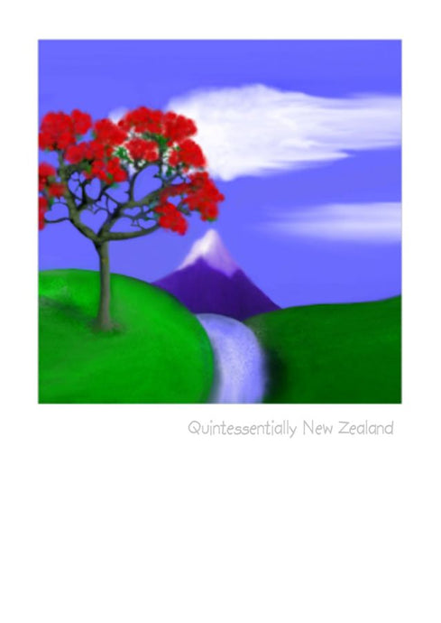 Wholesale Greeting Cards.  Artistic impression of a mountain scene with pohutukawa tree on this greeting card, note card, art card by NZ Artist Peter Karsten