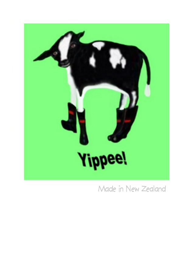 Wholesale Greeting Cards. Friesan calf in red band gumboots.  Kiwiana greeting card by NZ Artist Peter Karsten