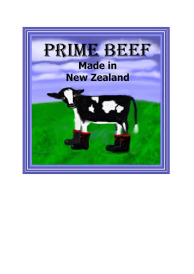 Wholesale Greeting Cards featuring a friesan calf wearing the iconic NZ redband gumboots.  By Artist Peter Karsten