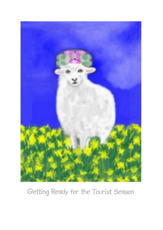Wholesale Greeting Cards with a sheep wearing curlers.