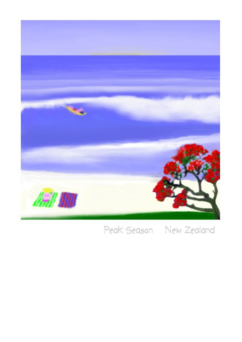 Wholesale Greeting Cards by New Zealand Artist Peter Karsten.  Peak Season.  Sun, surf and sand and of course a pohutukawa tree.